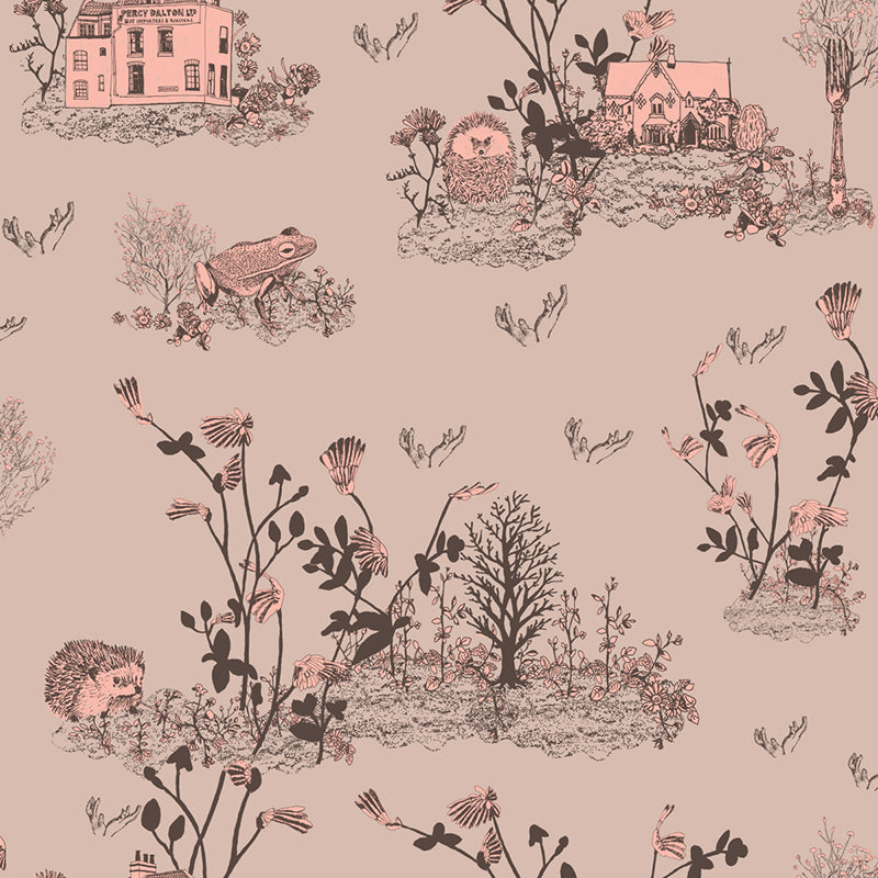 Woodlands Hedgehog, Frog, Brown, Pink, Fun Wallpaper Sample for Children's Room.