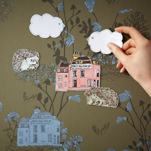 Fun, Magnetic Woodlands Wallpaper for Children. Hedgehog, Frog, Khaki, Blue, Interactive, Fun.