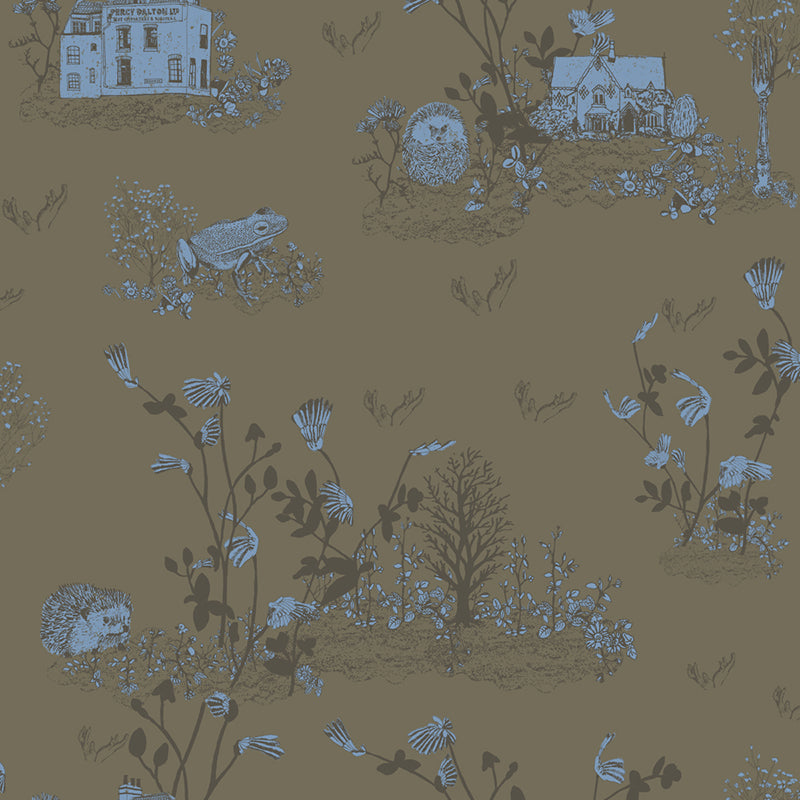 Woodlands Hedgehog, Frog, Khaki, Fun Wallpaper Sample Pack for Children's Room.