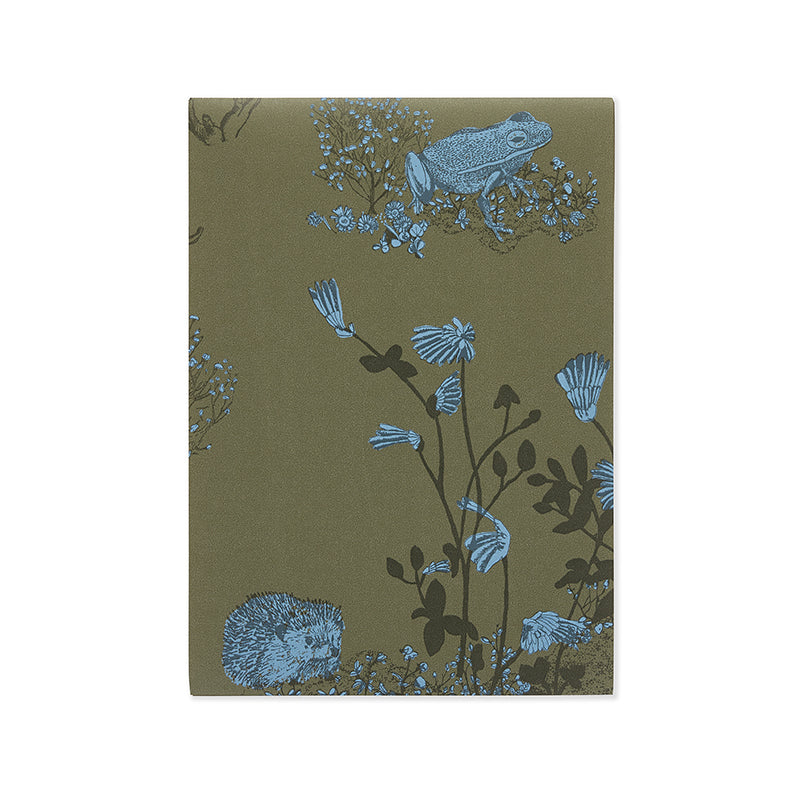 Woodlands Hedgehog, Frog, Khaki Blue, A4 Wallpaper Sample for Children's Room.