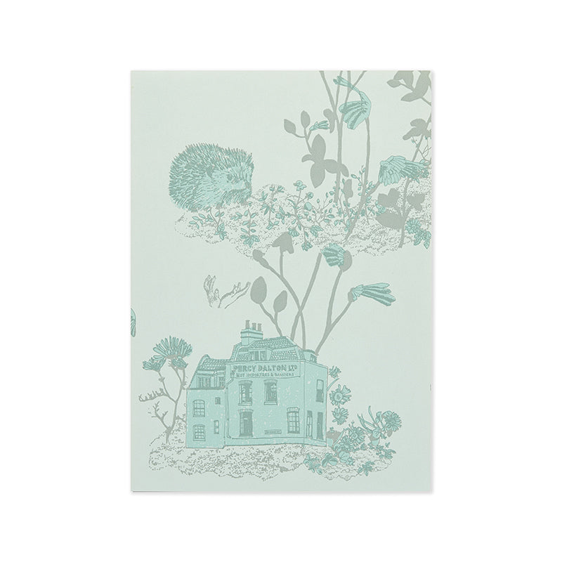 Woodlands Hedgehog, Frog, Blue Wallpaper Sample for children's room