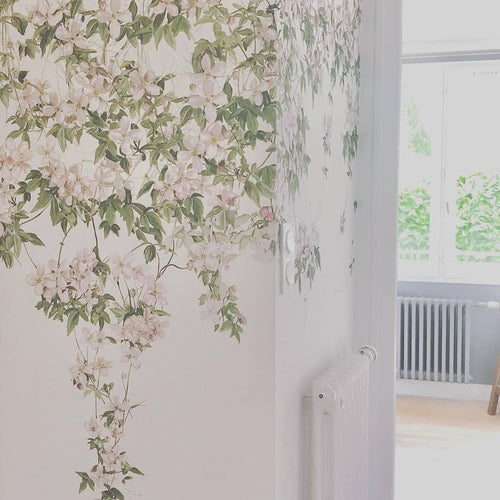 Classic Clematis Mural Wallpaper - White