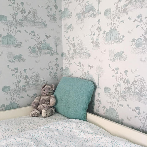 Woodlands Hedgehog Fun Blue Wallpaper for children's room, Frogs, Enchanted, Storytelling.