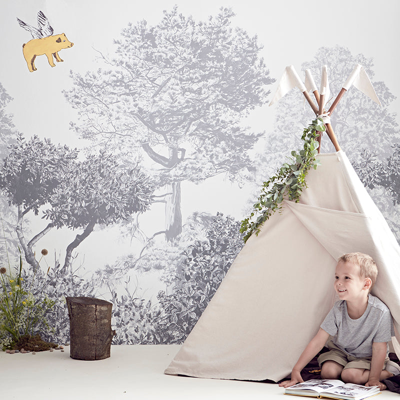 Fun Flying Pig Yellow Wall Sticker. Little boy in a Teepee. Wall Art, Wall Decoration, Designer.