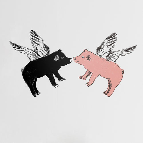 Flying pigs kissing sticker