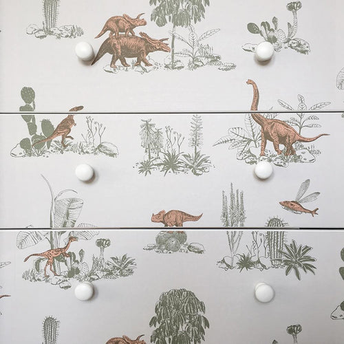 Dinosaur Wallpaper in Pink Green for Children Storytelling Wallpaper