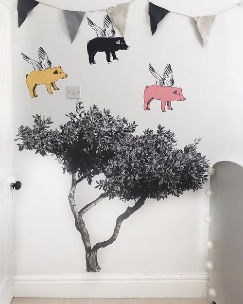 Fabric Wall Art Tree Sticker, Pig Sticker, Hedgehog Sticker, Wall Decoration, Woodlands Stickers, Designer.