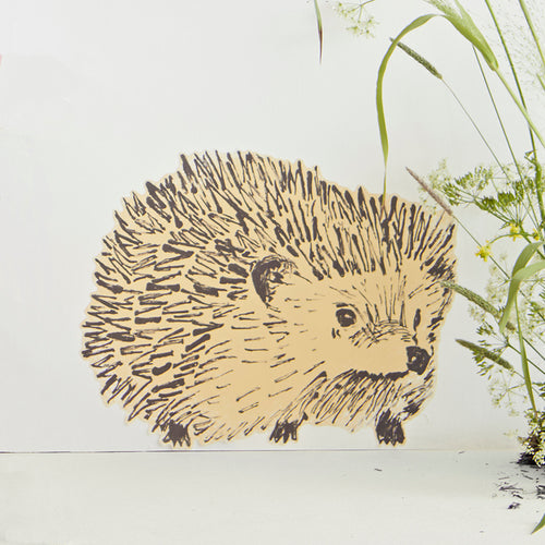 Fun Yellow Hedgehog Fabric Wall Sticker. Wall Art, Wall Decoration, Designer.