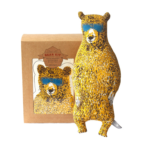 Yellow Holiday Bear Kit. Make Your Own, Do It Yourself Craft Kit. Unique Gift Idea.