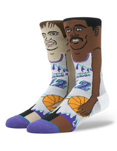 Stockton/Malone Instance Cartoon NBA Legends Socks