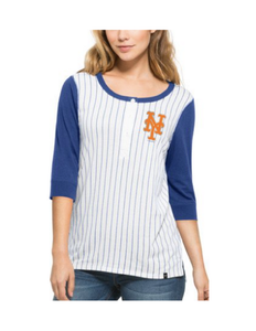 New York Mets White Wash Women's Henley