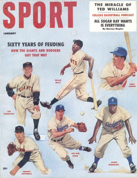 January 1958 SPORT Cover (Jackie Robinson, Brooklyn Dodgers, Willie Mays, New York/San Francisco Giants)