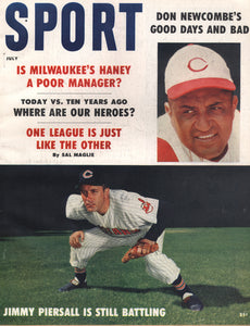 July 1959 Sport Cover (Don Newcombe, Cincinnati Reds, Jimmy Piersall, Cleveland Indians)