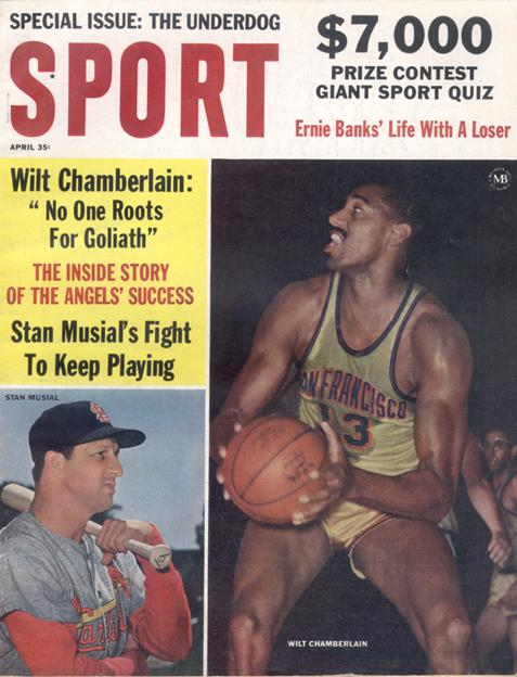 April 1963 SPORT Cover (Wilt Chamberlain, San Francisco Warriors, Stan Musial, St. Louis Cardinals)