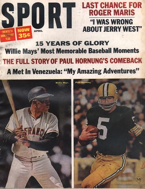 April 1966 SPORT Cover (Willie Mays, San Francisco Giants, Paul Hornung, Green Bay Packers)