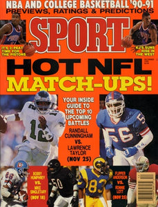 December 1990 Sport Cover (Randall Cunningham of the Philadelphia Eagles and Lawrence Taylor of the New York Giants)