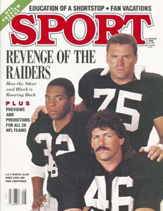 August 1988 Sport Cover (Marcus Allen, Todd Christensen and Howie Long of the Los Angeles Raiders)