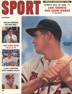 September 1958 Sport Cover (Ed Mathews, Milwaukee Braves)