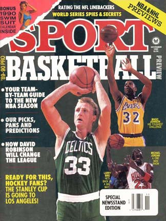 November 1989 Sport Cover (Michael Jordan of the Chicago Bulls, Larry Bird of the Boston Celtics and Magic Johnson of the LA Lakers)