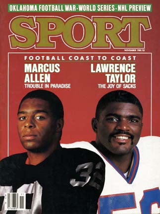 November 1985 Sport Cover (Marcus Allen of the Los Angeles Raiders and Lawrence Taylor of the New York Giants