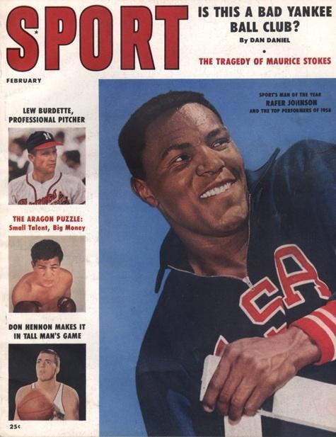 February 1959 SPORT Cover (Rafer Johnson, USA, Lew Burette, Don Hennon)