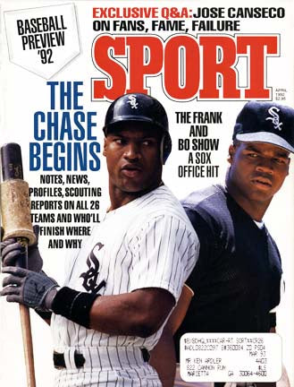 April 1992 Sport Cover (Bo Jackson and Frank Thomas, Chicago White Sox)