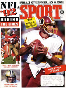 August 1992 Sport Cover (Mark Rypien, Washington Football and Jerry Rice, San Francisco 49ers)