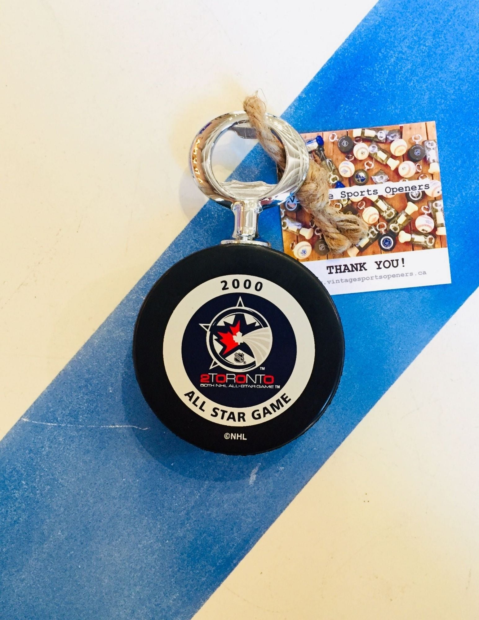 Authentic Official 50th NHL All-Star Game Hockey Puck Bottle Opener (Toronto)