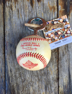 Authentic Rawlings 1992 Official MLB World Series Game Baseball Bottle Opener (Toronto Blue Jays vs. Atlanta Braves)