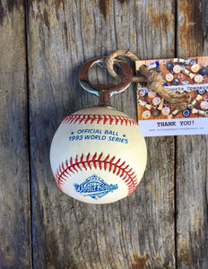 Authentic Rawlings 1993 Official MLB World Series Game Baseball Bottle Opener (Toronto Blue Jays vs. Philadelphia Phillies)