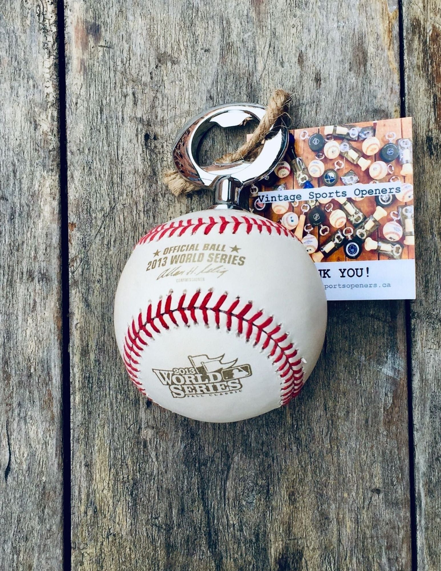 Authentic Rawlings 2013 Official MLB World Series Game Baseball Bottle Opener (Boston Red Sox vs. St. Louis Cardinals)