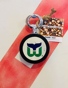 Hartford Whalers Vintage NHL 1970-80s Era Hockey Puck Bottle Opener