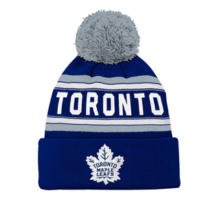 Toronto Maple Leafs Kids Jacquard Cuff Pom Toque