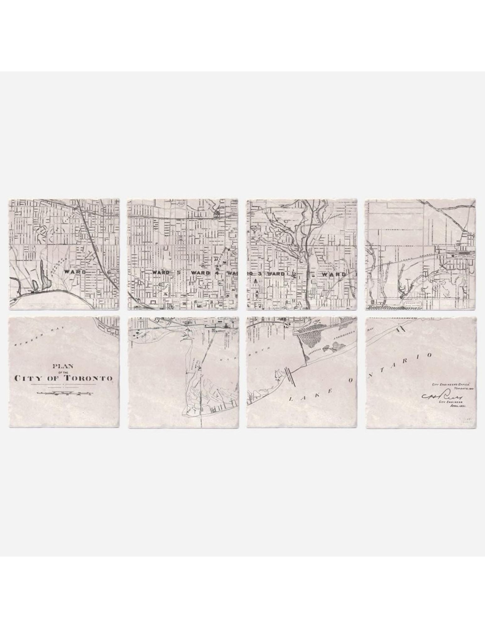 Toronto 1901 Map Coasters - Set of 8