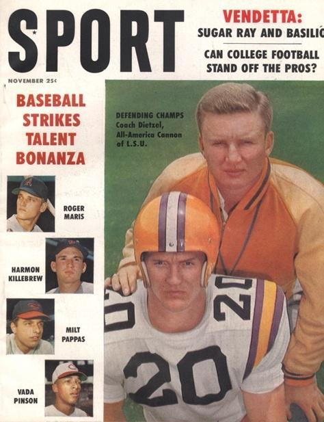 November 1959 Sport Cover (Roger Maris, Paul Dietzel, Billy Cannon, LSU)