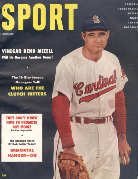 August 1956 Sport Cover (Vinegar Bend Mizell, St. Louis Cardinals)