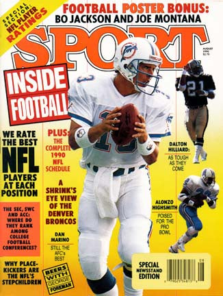 August 1990 Sport Cover (Dan Marino of the Miami Dolphins, Dalton Hilliard of the New Orleans Saints and Alonzo Highsmith of the Dallas Cowboys)