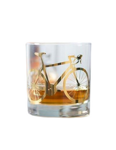 Bicycle Whiskey Glass Gold