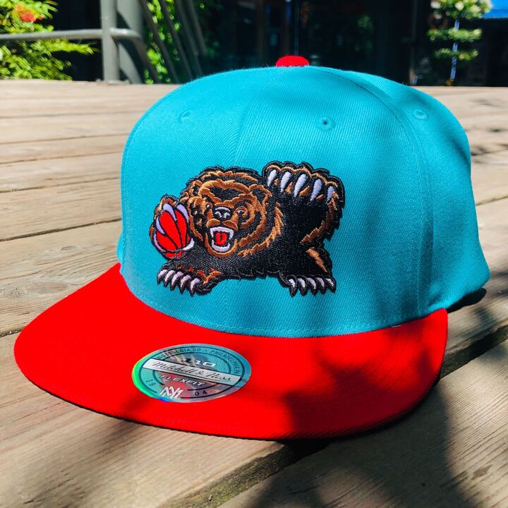 Vancouver Grizzlies Teal/Red Bear Logo Hat