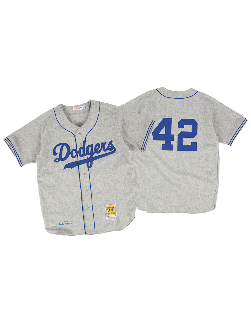 Brooklyn Dodgers Jackie Robinson 1955 Authentic Replica Jersey (Grey)