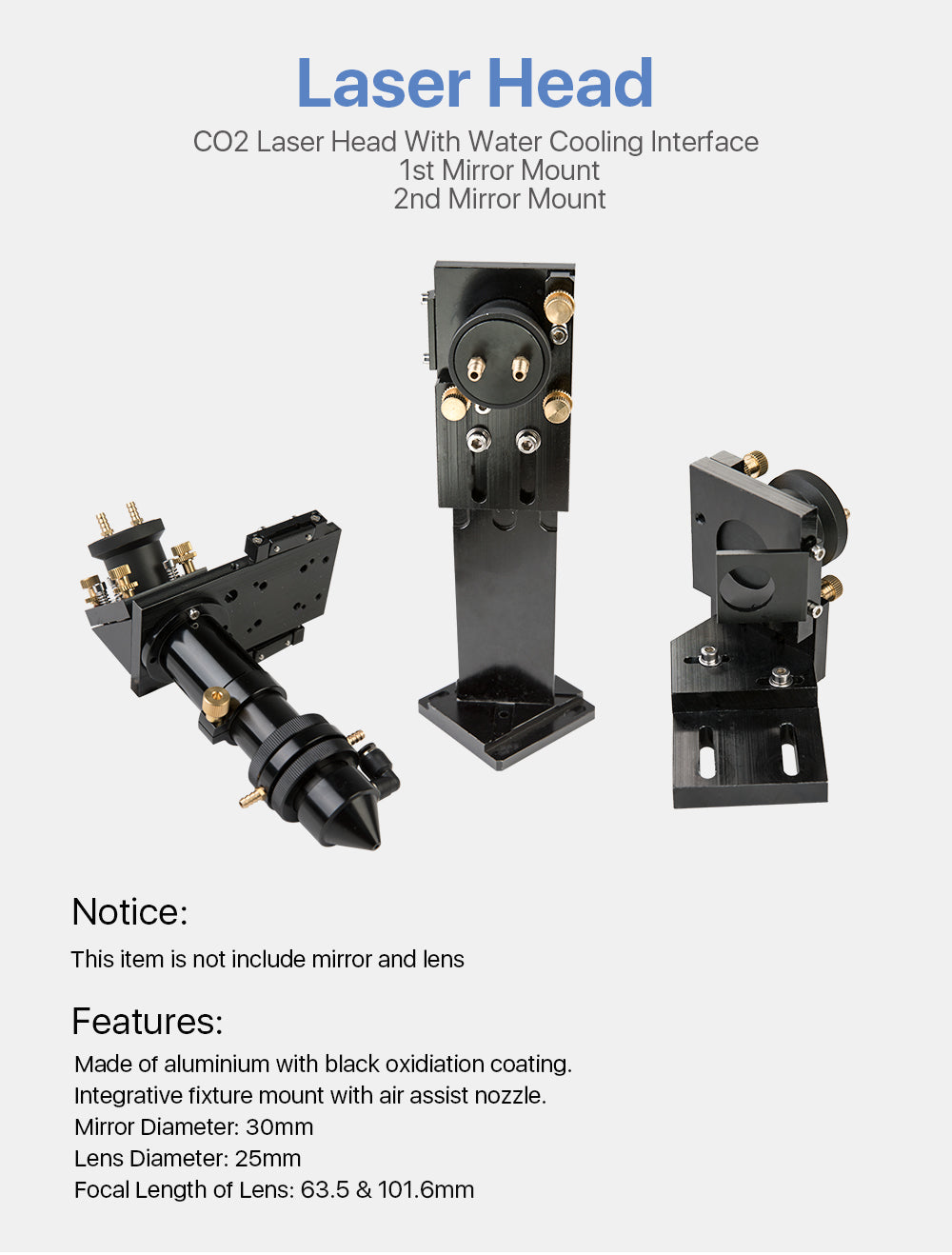 CO2 Laser Head /Mirror Mount / Set with water cooling interface
