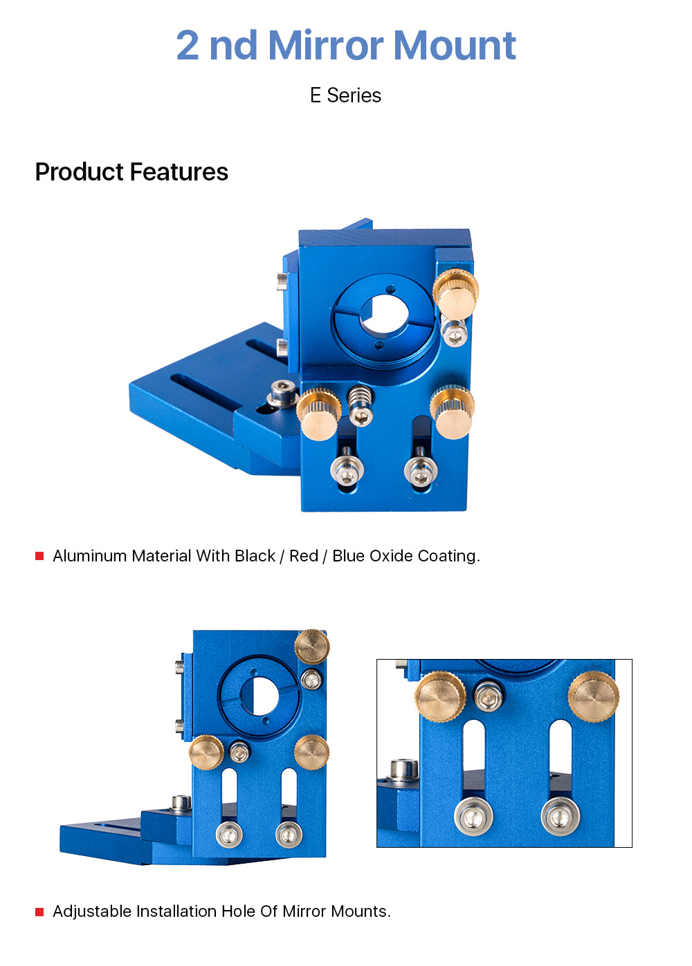 CO2 Laser Head 2ND Mirror Mount Blue for Laser Engraving Cutting Machine
