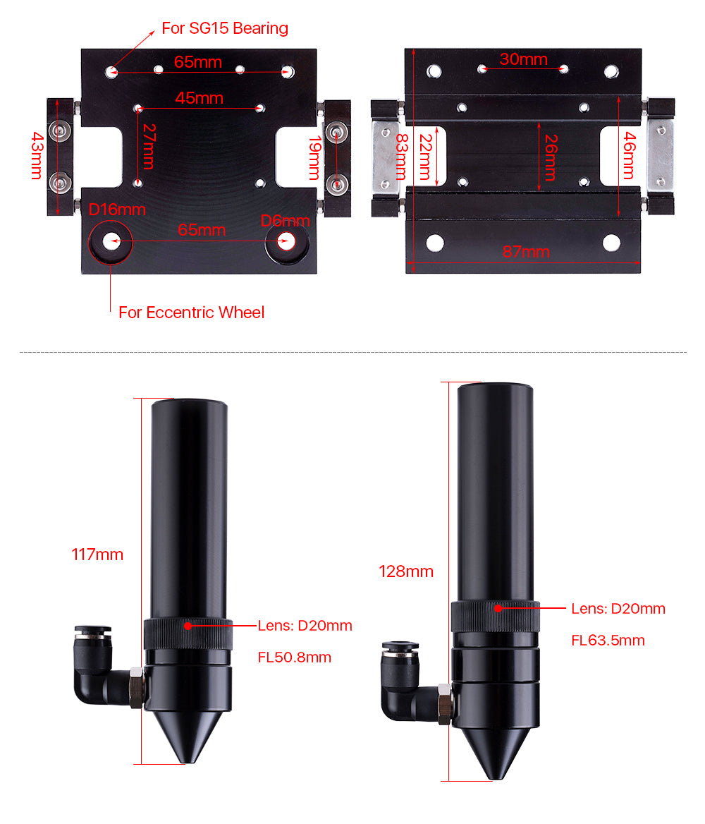CO2 Laser Head Outer Slider Type with Air Assist Nozzle