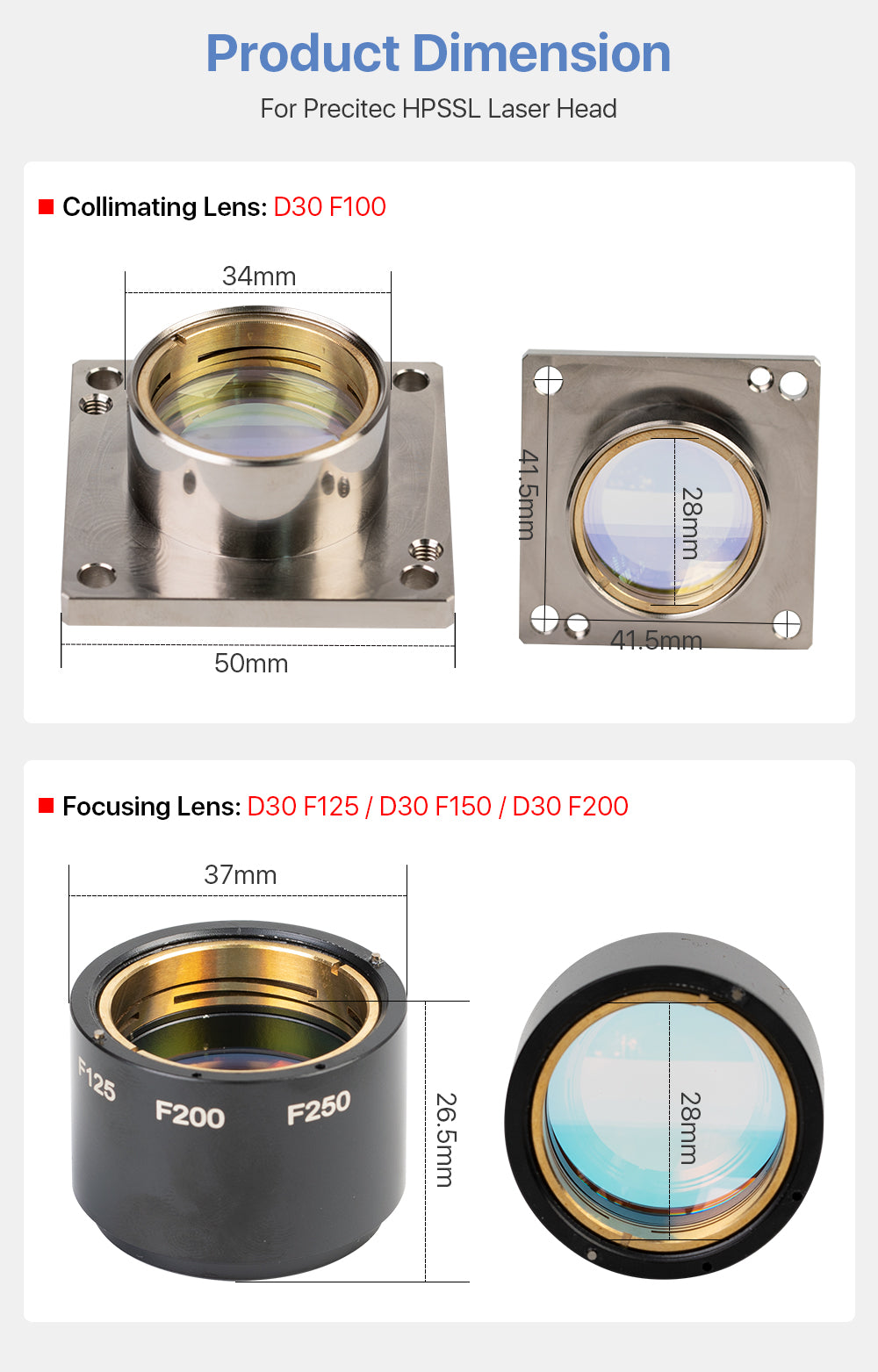 Cloudray Collimating & Focusing Lens For Precitec HPSSL Laser Cutting Head