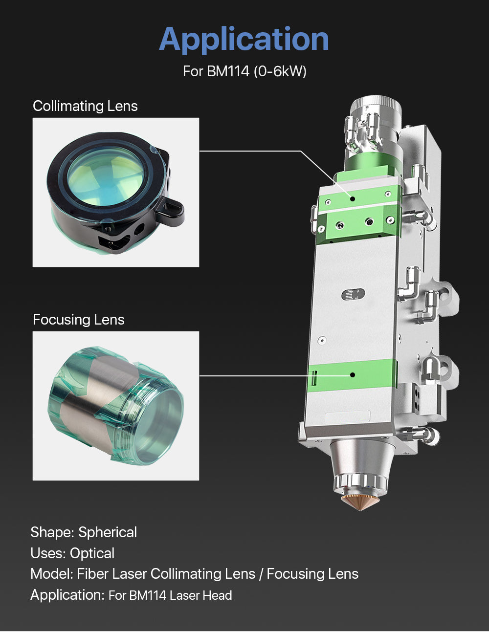 Cloudray Focusing & Collimating Lens With Lens Tube For Raytools BM114