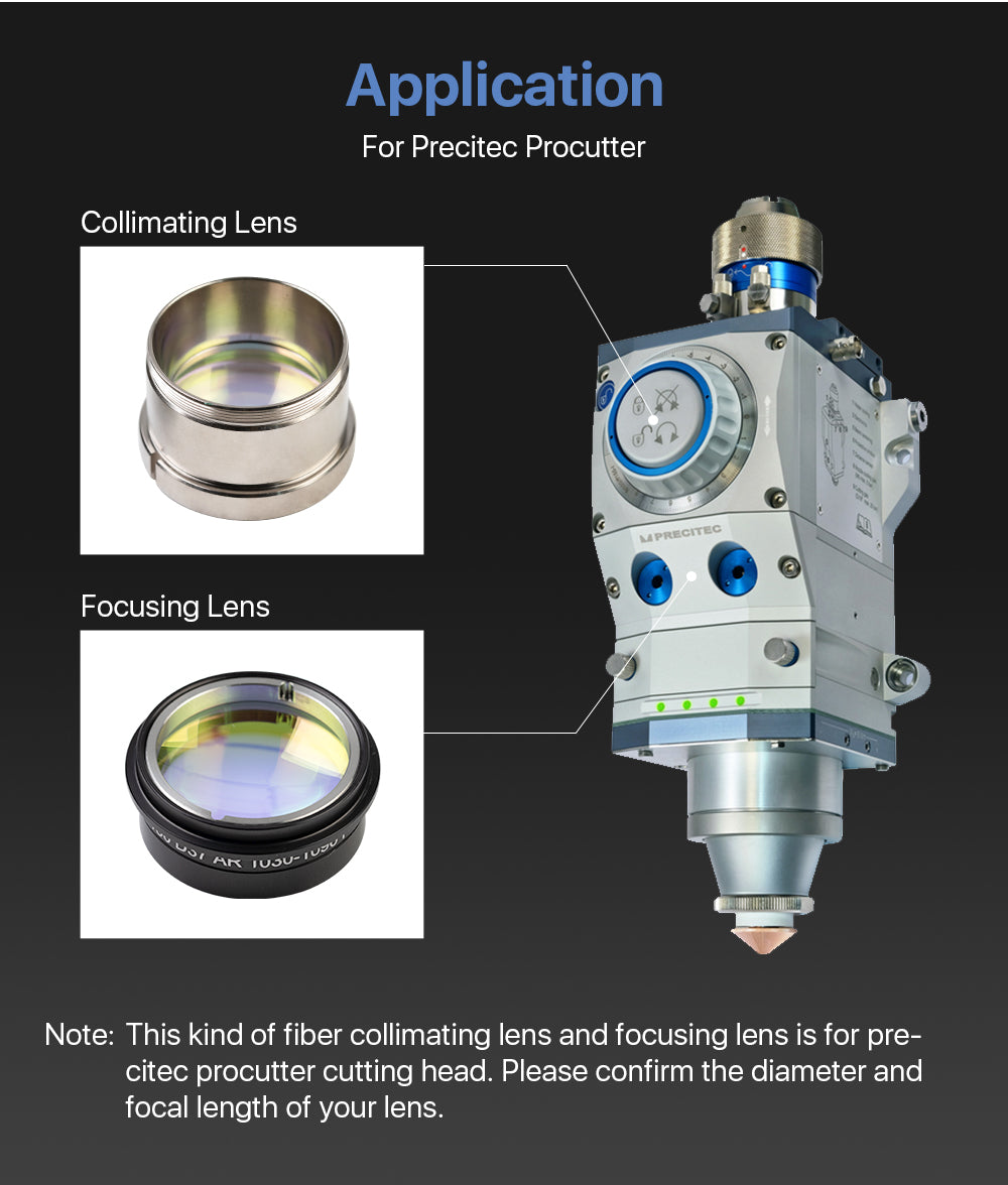 Cloudray Collimating & Focus Lens With Lens Tube For Precitec Procutter Cutting Head