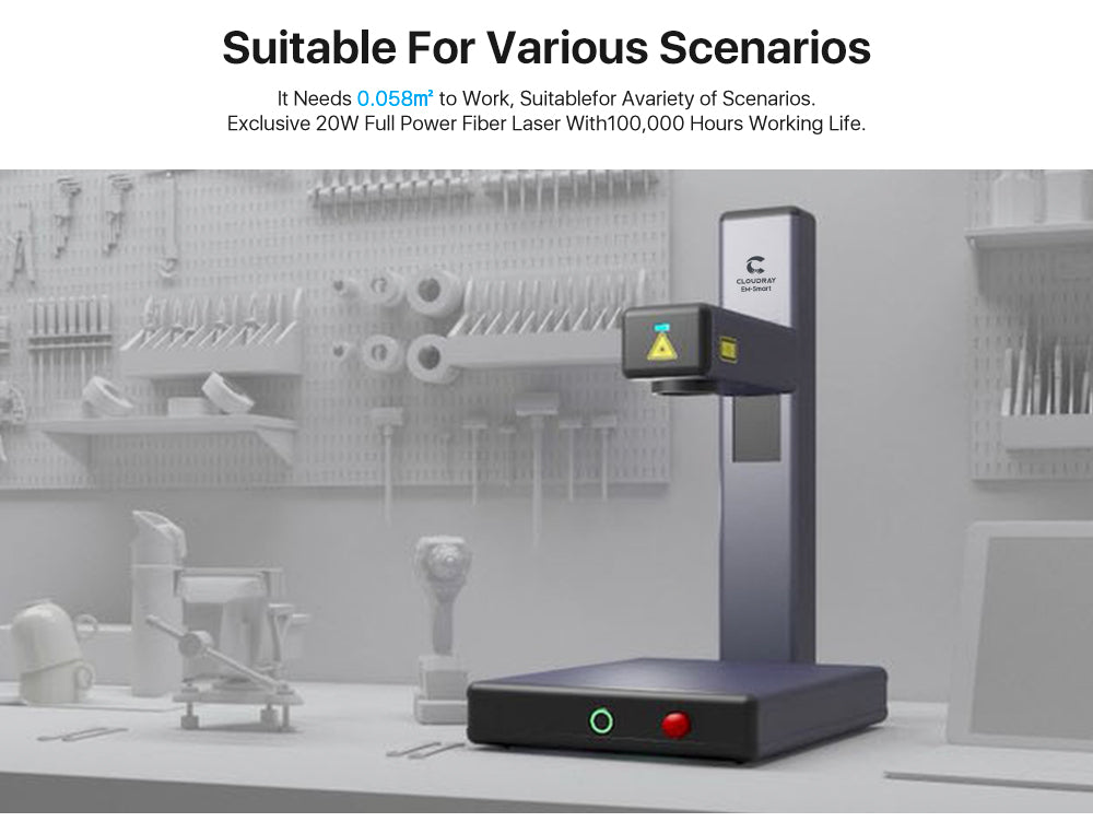 Cloudray 20W EM-Smart Portable Fiber Laser Marking Machine With Safety Goggles