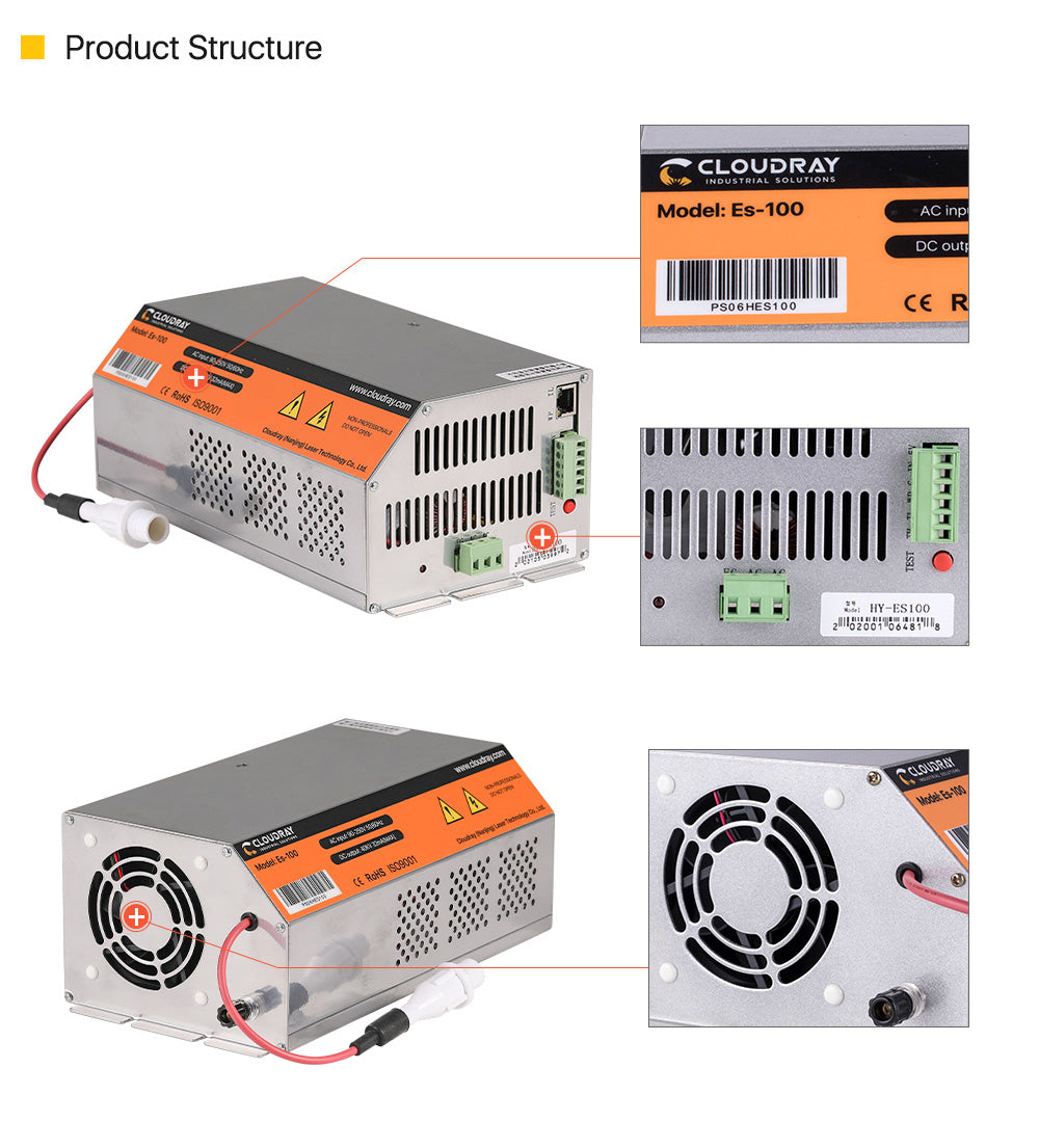 Cloudray 100-120W HY-Es Series CO2 Laser Power Supply