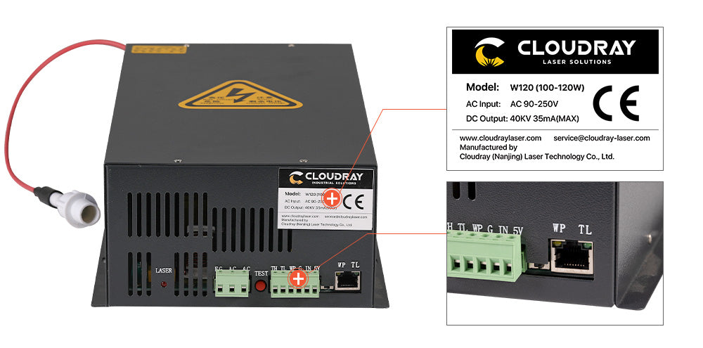 Cloudray 100-120W HY-W Series CO2 Power Supply