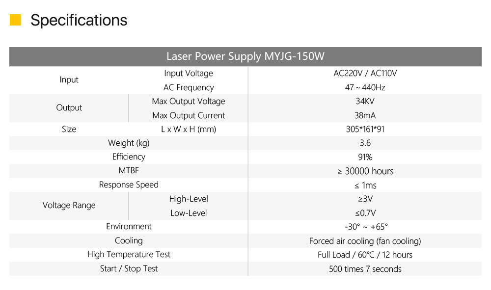 150W CO2 Laser Power Supply MYJG-150 LED